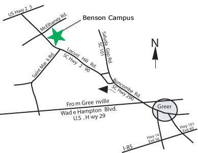 greenville college campus map Benson Campus Map Directions Greenville Technical College greenville college campus map